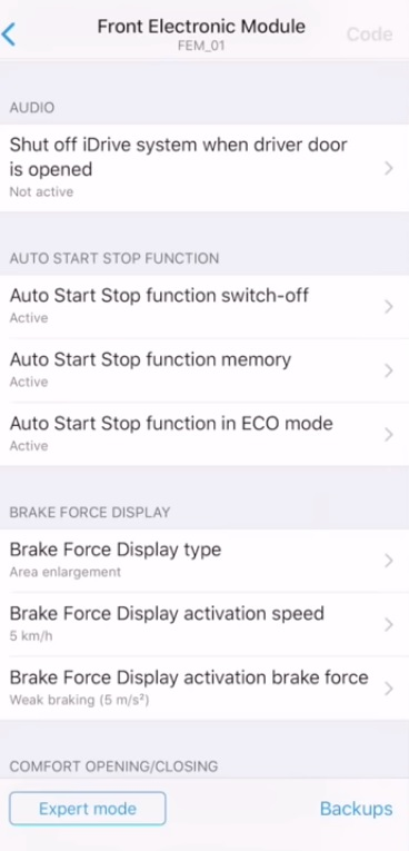 BimmerCode - Auto Start Stop Function
